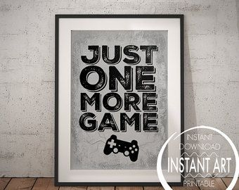 PLAYSTATION POSTER  Just One More Game   PS4  Video Game Poster    Playstation Bedroom