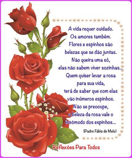 A vida requer cuidado.   Os amores tambem.   Flores e espinhos são belezas que se dão juntas.   Não queira uma só, elas não sabe...