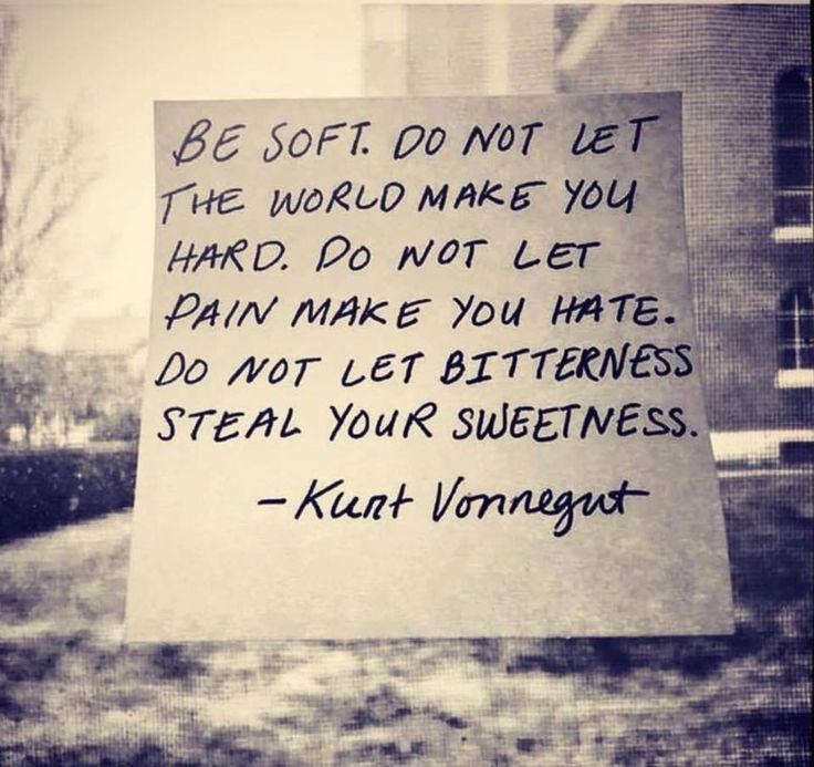 Be soft.  Do not let the world make you hard.  Kurt Vonnegut