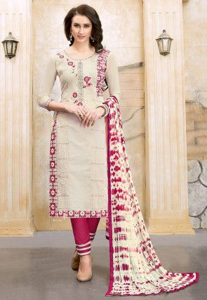 15b78f4017 Embroidered Chanderi Silk Straight Suit in Off White | Women ...