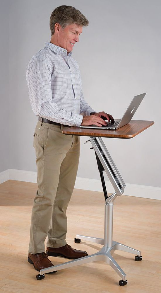 "The Standing Or Sitting Workstation - This is the height-adjustable workstation that accommodates those who sit or stand while working. A smooth, silent pneumatic arm allows users to easily elevate the work surface to 41"" H or  lower it to 27"" and lock it into place at any height in between."