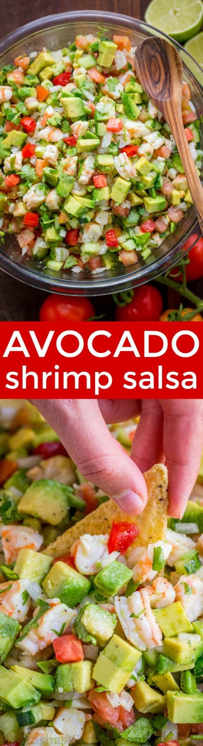 This Avocado Shrimp Salsa is a party favorite! Loaded with shrimp, avocado and a surprising ingredient! Easy, excellent avocado shrimp salsa video recipe. | natashaskitchen.com