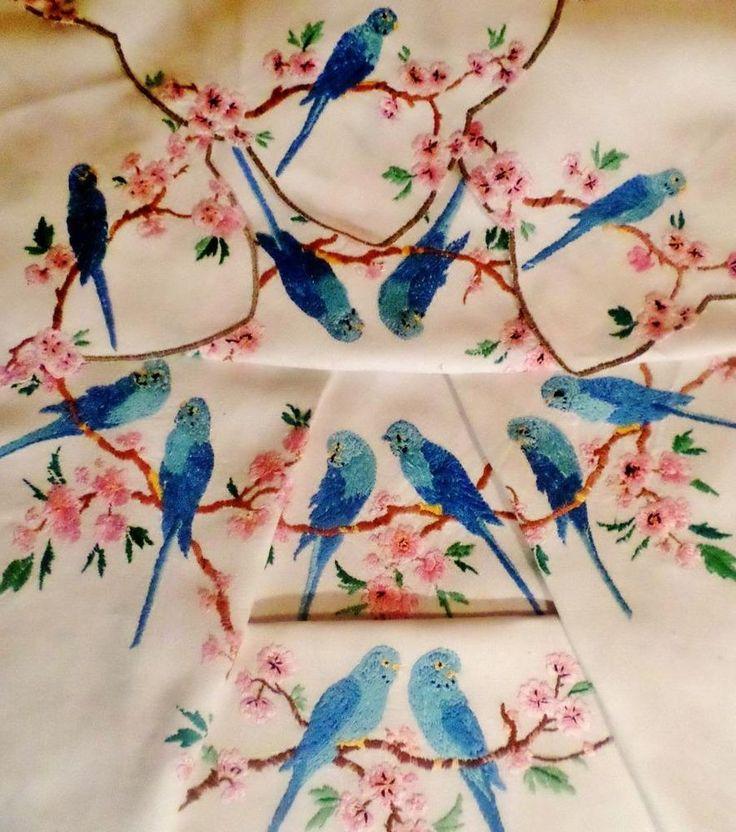 VINTAGE Tablecloth Set BUDGERIGAR Hand Embroidered PINK BLOSSOM Budgies  RARE SET