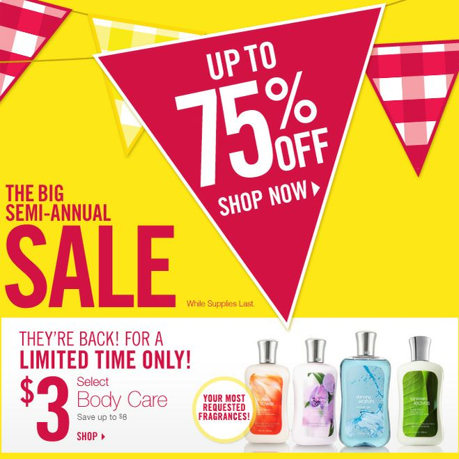 Bath  Body Works Semi-Annual Sale : Up to 75% off + 20% off with coupon code!