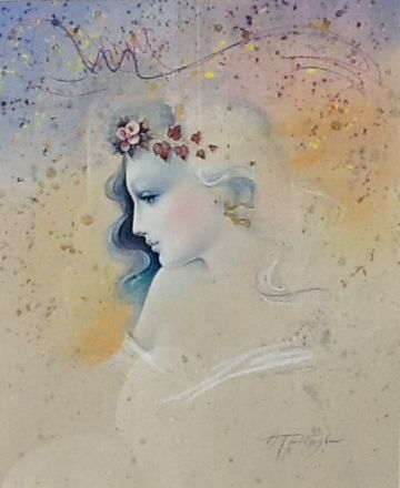 Drawing by Greek artist Th. Pandaleon. Mixed technique with pastel colors.