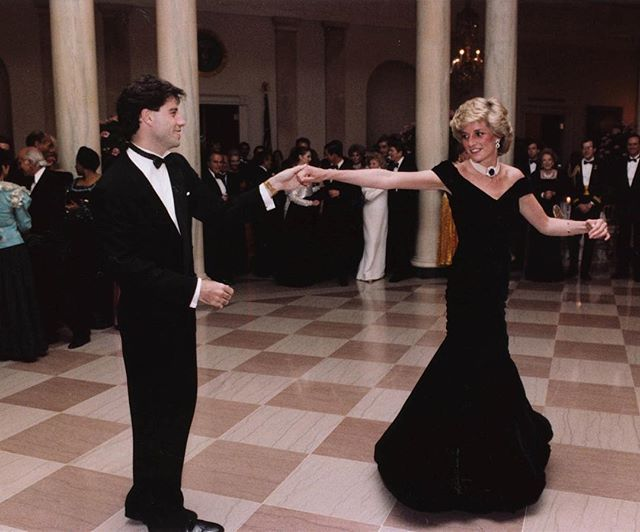 "Princess Diana famously wore this velvet Victor Edelstein gown at the White House in 1985, when she danced the night away with John Travolta. A new exhibit showcasing all of her most memorable looks, ""Diana: Her Fashion Story,"" opens on February 24 at Kensington Palace. ✨: @ap.images"