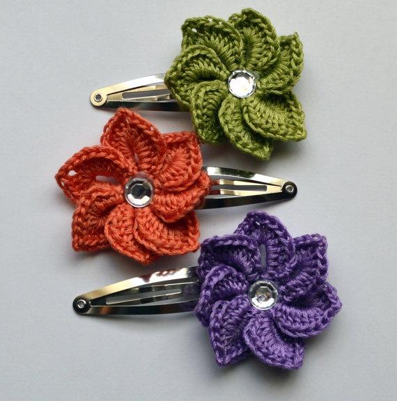 Spiral Crochet Flower Hair Clip  Baby Toddler Hair