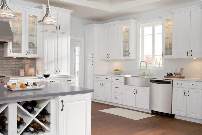 Lovely White Vs Stained Kitchen Cabinets