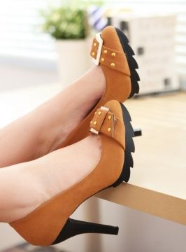 Fabulous Style Rivet Decorated Pumps Yellow