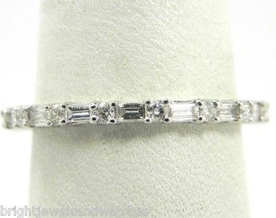 Ladies 18k White Gold .75 Ct. Round & Baguette Diamond Eternity Wedding Band