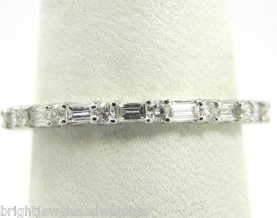 Ladies 18k White Gold .75 Ct. Round & Baguette Diamond Eternity Wedding Band