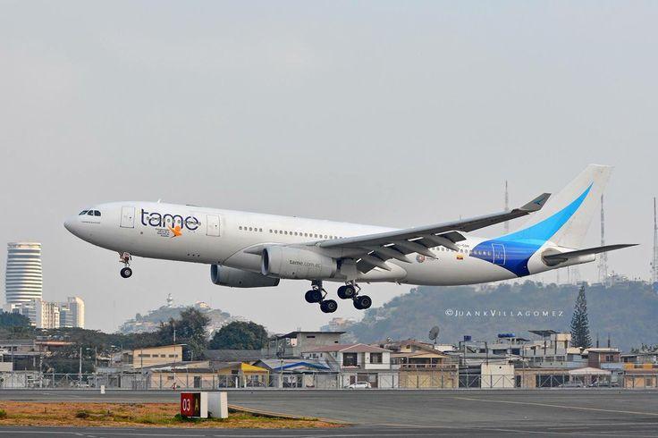 TAME Ecuador Airbus A330-243 landing at Guayaquil International Airport, Ecuador