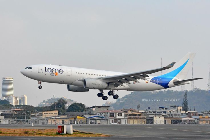 TAME Ecuador Airbus A330-243 landing at Guayaquil International Airport, Ecuador