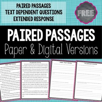 FREE Paired passages and text dependent questions extend students' reading comprehension and writing skills! This product is now compatible with Google Classroom as well as a traditional PDF document.Paired passages are playing a larger role than ever in today's elementary classroom.