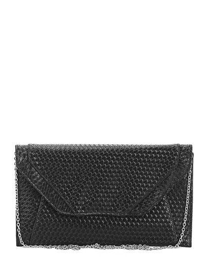 Drap Barcelona - Borse - Accessori - Pochette in eco pelle intrecciata con chiusura a bottone magnetico e tracolla a catenella. Misure 30 x 18 cm. - BLACK - € 40.16