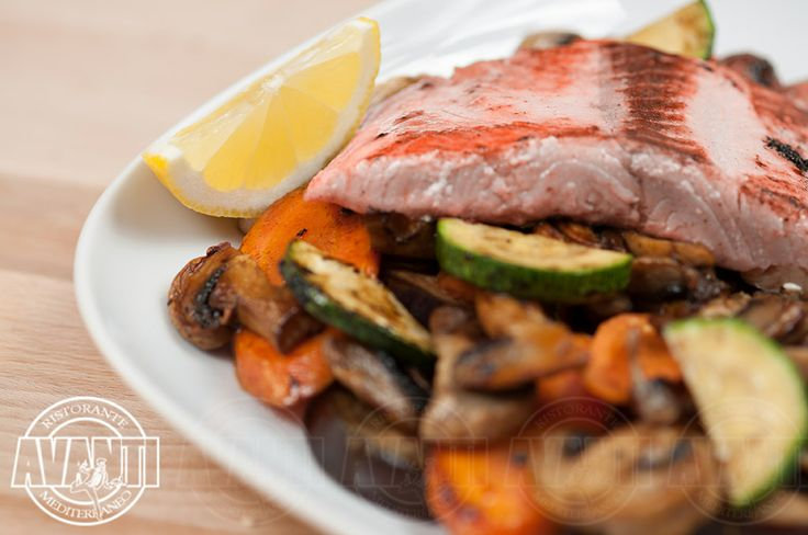 Grilled Salmon (Salmon fillet with fried vegetables)