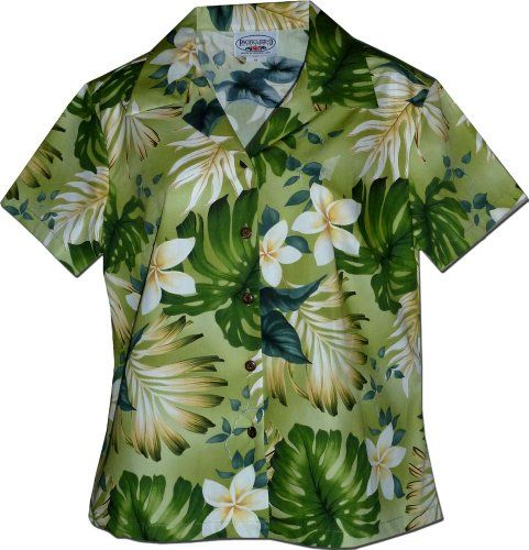 Tropical Monstera Ladies Hawaiian Shirts in Sage XS * Want additional info? Click on the image.
