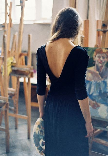 nothing beats a lovely, romanticised image of the femal artist...Black Style, Fashion Shoes, Art Studios, The Artists, Girls Fashion, Little Black Dresses, The Dresses, Girls Shoes, Open Back