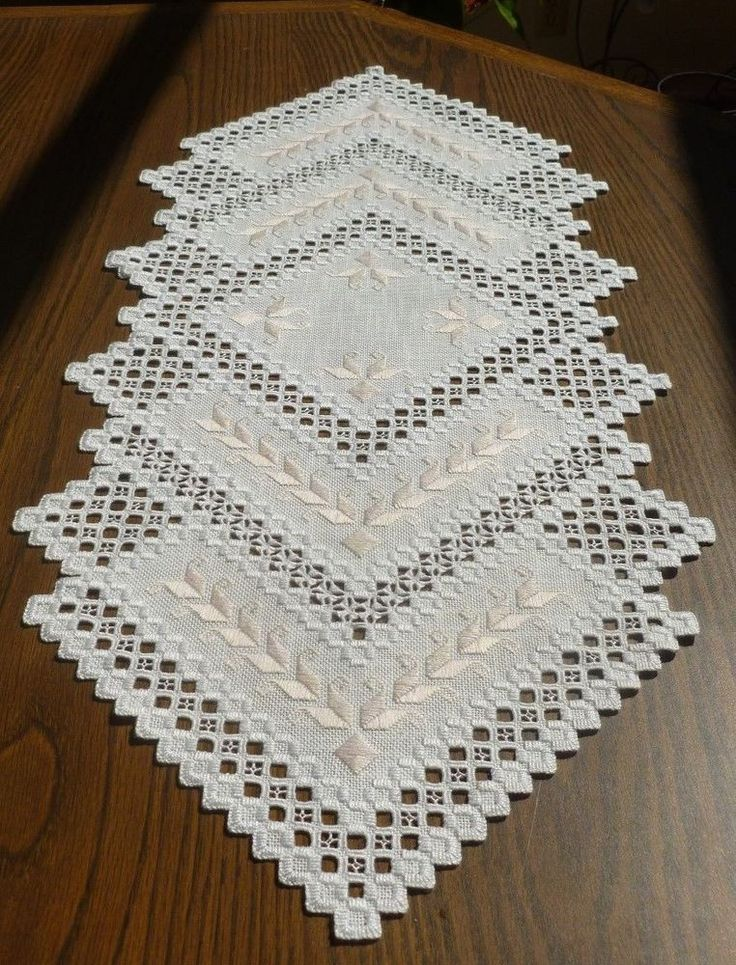 Hardanger Runner with pink varigated Tulips - Handmade