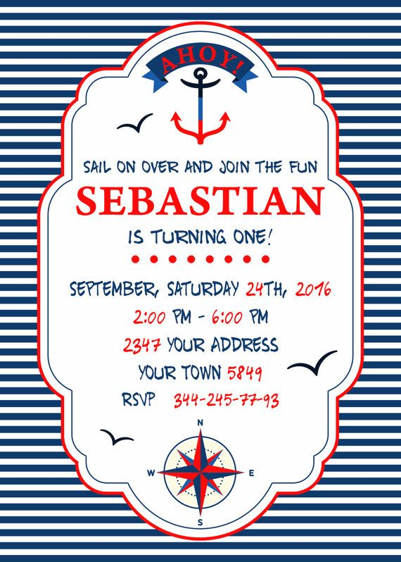 Invitación náutica del cumpleaños. Invitación por NiceStudioForYou