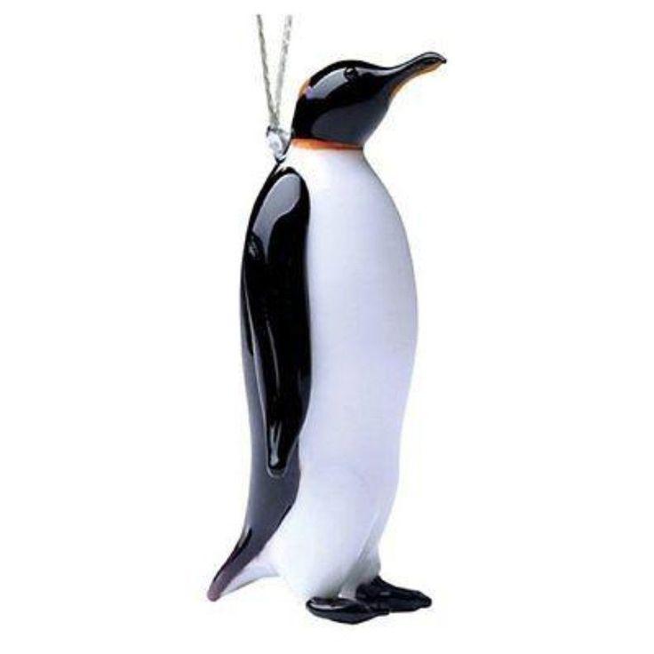 King Penguin Glass Ornament