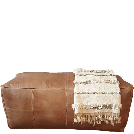Long Leather Pouf Ottoman | natural brown leather rectangle ottoman. Long. Earth