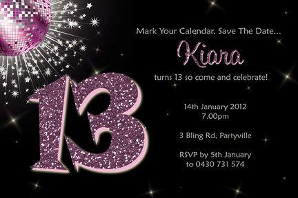 Free Birthday Invitations for Teenagers | Personalised Bling Birthday Invitations 13th 16th Teen Girl | eBay