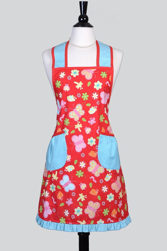 Women's Retro Apron Features Red and Aqua Fabric with