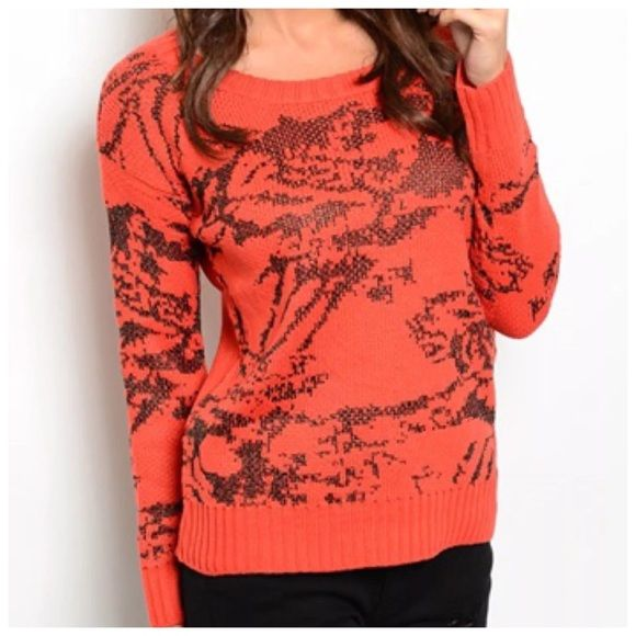 """Metallic Abstract Burnt Orange & Bronze Sweater ‼️PRICE FIRM‼️   Size Small  Retail $69   SUPER FUN!!!  Metallic gunmetal color threading!  Lots and lots of stretch for a perfect & comfortable fit!  80% acrylic,15% metallic yarn, 5% wool.   Measurements taken with sweater lying flat and not stretched.  There is lots of stretch to this sweater for a perfect fit & ultimate comfort.    Armpit to armpit 40""""  Shoulders 22""""   Length of garment 24"""" Timing Sweaters Crew & Scoop Necks"""