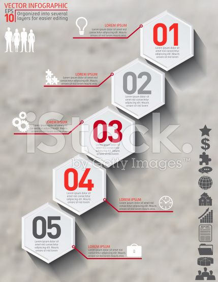 Geometric Hexagon Infographic On Conrete Base royalty-free stock vector art