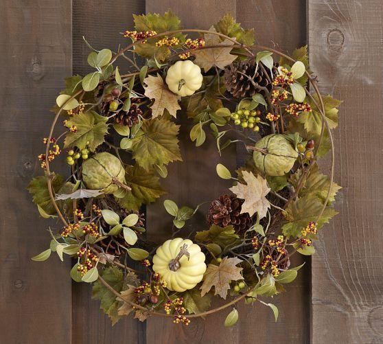 Faux Green Harvest Pumpkin Wreath   Pottery Barn