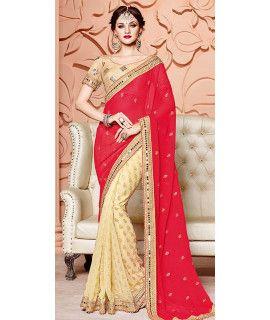 Splendid Red And Beige Chiffon Saree.