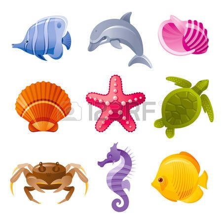 butterfly clip art: Colorful cartoon icon set of sea animals