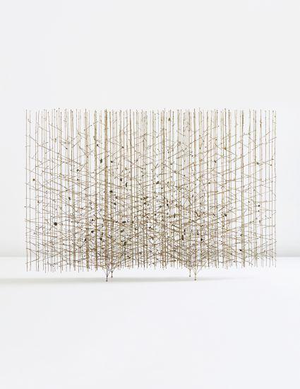 "smokethereisfire:  ""Golden Rods"" melt-coated wire sculpture   Harry Bertoia"