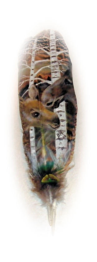 Hand painted Feather - Mother and Baby Moose, Help Save Pets!   Jusani Culture