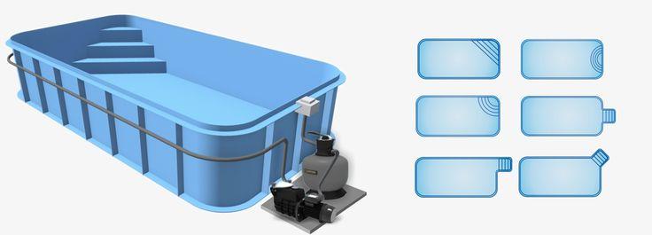 Бассейн Econ pools прямоугольной формы с вариантами размещения ступенек