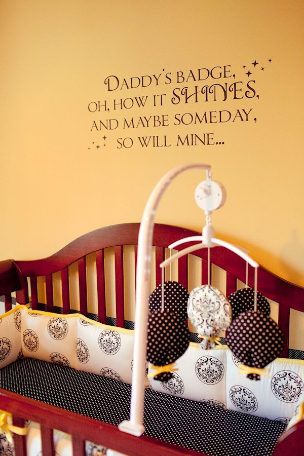Daddy's Badge Wall Decal from www.tradingphrases.com     This sweet decal is for the child of a police officer, firefighter, etc. We love it! $45