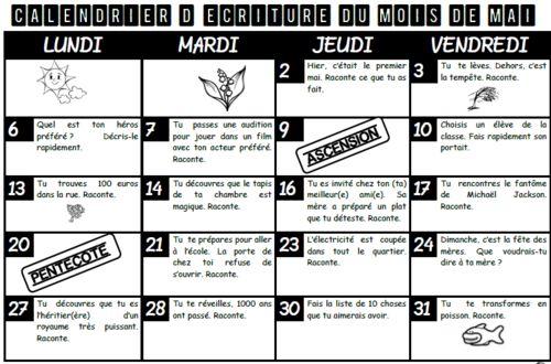 Calendrier décriture, jogging, cycle 2, cycle 3, mois mai, ce1, ce2