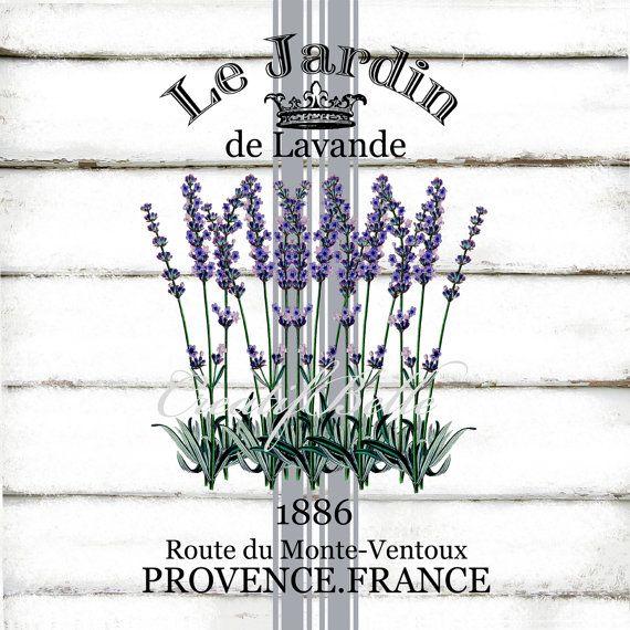 Le Jardin Lavender A4 Grain Sack Style Instant Digital Download Printable Graphic Transfer Vintage Arts Craft Supplies Herbs Image