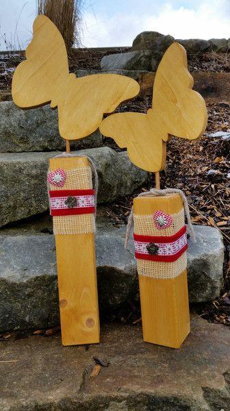 Holz+Schmetterling++/Holzdekoration/Holzpfosten+von+MaRu+DekoKreativ+auf+DaWanda.com