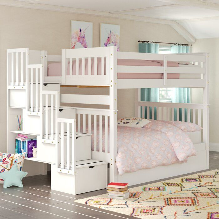 Tena Full Over Full Bunk Bed With Shelves And 6 Drawers Bed For Girls Room Bunk Bed Rooms Cool Bunk Beds
