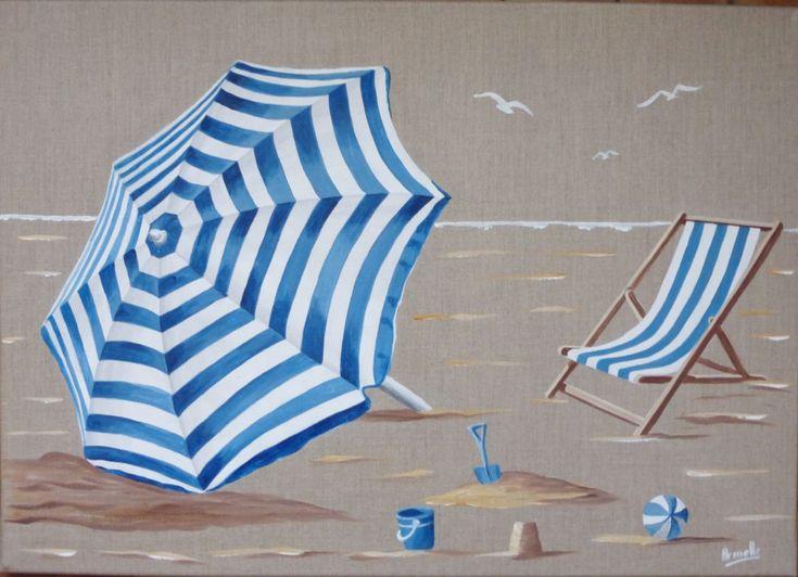 parasol rayé - Peinture,  50x70x2 cm ©2016 par armelle -              parasol, transat, plage