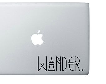 WANDER // laptop, macbook, decal, tumblr, hipster vinyl sticker, tell the world how cool you are.