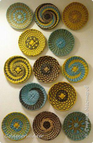 Поделка изделие Плетение Панно Плетёные тарелки из бумаги  + Совсем маленький МК  Бумага газетная фото 14