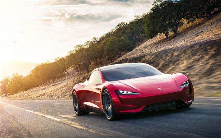 Herunterladen hintergrundbild tesla roadster, 4k, 2018 autos, elektrische autos, straße, tesla