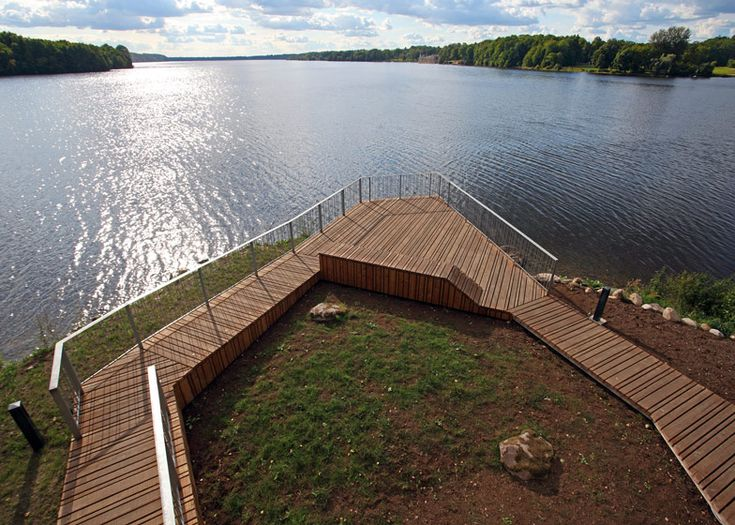 Wooden viewing platform looks out over Latvia's River Daugava