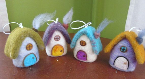 Needle Felted Ornament / Cottage by lanadeflor on Etsy $12