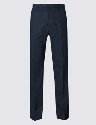 Big & Tall Linen Blend Flat Front Trousers
