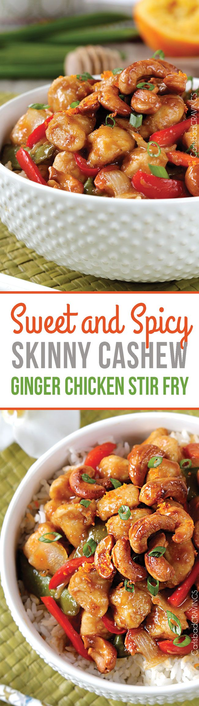 Skinny Sweet and Spicy Cashew Ginger Chicken Stir Fry - in your mouth in less than 30 minutes with CARAMELIZED cashews and the most incredible sauce! #cashewchicken #stirfry #Chineserecipes