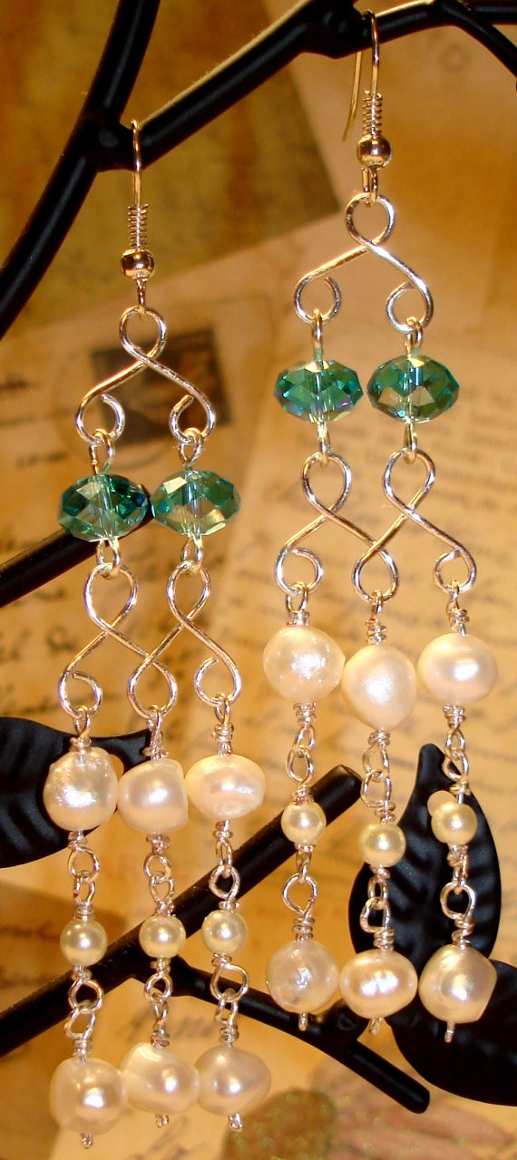 Fancy looking wire wrapped pearl chandelier by glamorousandfancy, $16.00